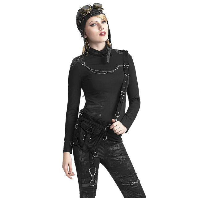c8612efc3f Punk Women Leather Small Waist Belt Bags Steampunk Fashion Black Shoulder Bags  Holster Mini Bag Purses