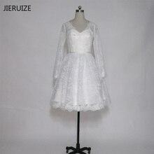 JIERUIZEสีขาวลูกไม้แต่งงานสั้นเดรสคอวีแขนยาวชุดแต่งงานสั้นvestidoเดnoiva curtoเสื้อคลุมmariee