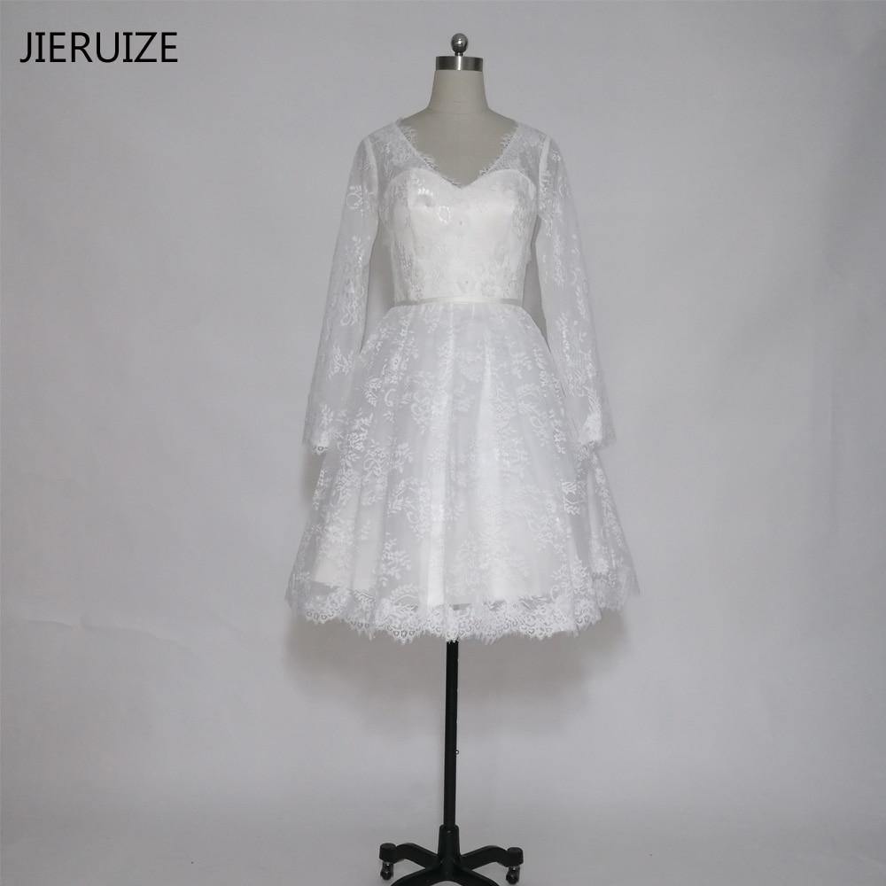 JIERUIZE bele čipke kratke poročne obleke V-izrez z dolgimi rokavi - Poročne obleke