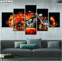 5 spell painting full square motorcycle fire picture diamond painting 3d round diamond mosaic diamond embroidery set stickers