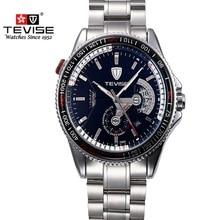 Original Dial Grande Reloj de la Marca TEVISE Marca de Lujo Reloj Mecánico Automático de Los Hombres Reloj Luminoso Impermeable Reloj de Acero Hombres Reloj