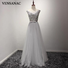 VENSANAC Crystals Sequined O Neck Long Evening Dresses 2018 A Line Lace Elegant Bow Sash Tulle Party Prom Gowns