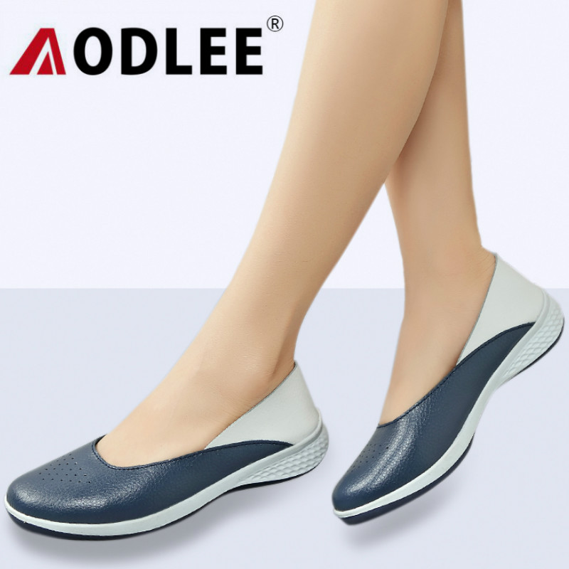 AODLEE Plus Size 35-42 Fashion Summer Hollow Loafers Women Flats Split Leather Shoes Woman Slip On Ladies Shoes Casual Moccasins odetina 2017 new women pointed metal toe loafers women ballerina flats black ladies slip on flats plus size spring casual shoes