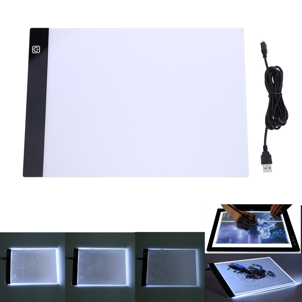 A4 LED Panel de visualización de artista luminosa plantilla tablero de dibujo de Pad Digital gráfico tableta electrónica dibujo Tablet Pad