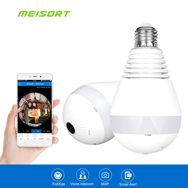 Meisort Bulb LED Light wifi IP Camera Wi-fi Fisheye 960P 360 degree CCTV VR Camera 1.3MP Home Security WiFi Panoramic Camera vr360 panoramic camera wi fi remote control sports action camera