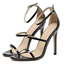 Fashion Summer Women Sandals Casual PU Buckle Strap Thin Heels belt 10.5CM High Open Toed Shoes Sexy Pumps