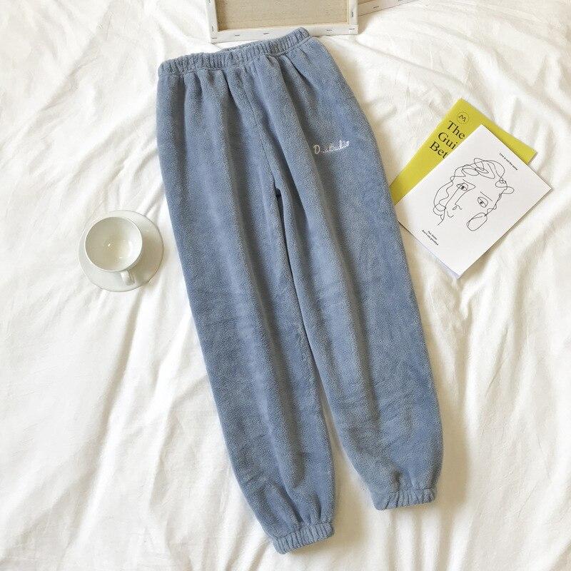 Autumn Winter Sleep Bottoms Pants Flannel Casual Pyjama Trousers Thick Warm Sleepwear Pants Lady Loose Home Wear Trousers