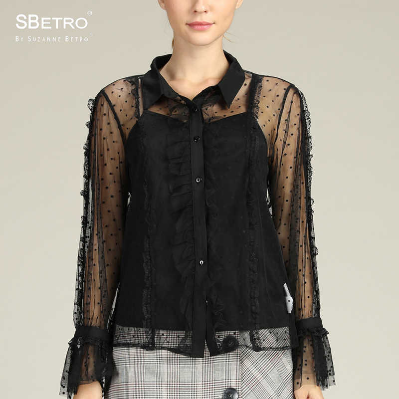 66fc8327f0eca SBetro By Suzanne Betro Pokdot Mesh Blouse Shirts Ladies Lace Sheer Sexy  Ruffle Long Sleeve Summer