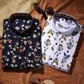 Verano Nuevos Mens Casual Camisas de Moda de Manga Larga Floral Impresa hombres Más Tamaño Polka Dot Floral Formal de Negocios Vestido de Los Hombres camisa