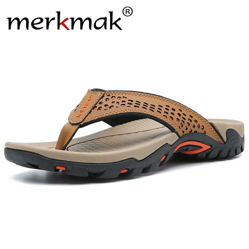 Merkmak 2019 Summer Men Shoes Mens Flip Flops Trendy Anti-slip Leather Casual Shoes Classic Massage Beach Slippers Big size 46