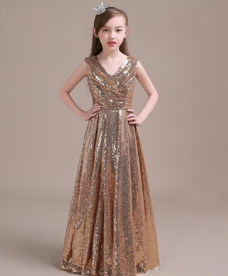 High Quality Pageant Gowns For Elegant Girl V-Neck Zipper Back Gorgeous Flower Girl Dress for Special Occasion with Shiny SequinHigh Quality Pageant Gowns For Elegant Girl V-Neck Zipper Back Gorgeous Flower Girl Dress for Special Occasion with Shiny Sequin