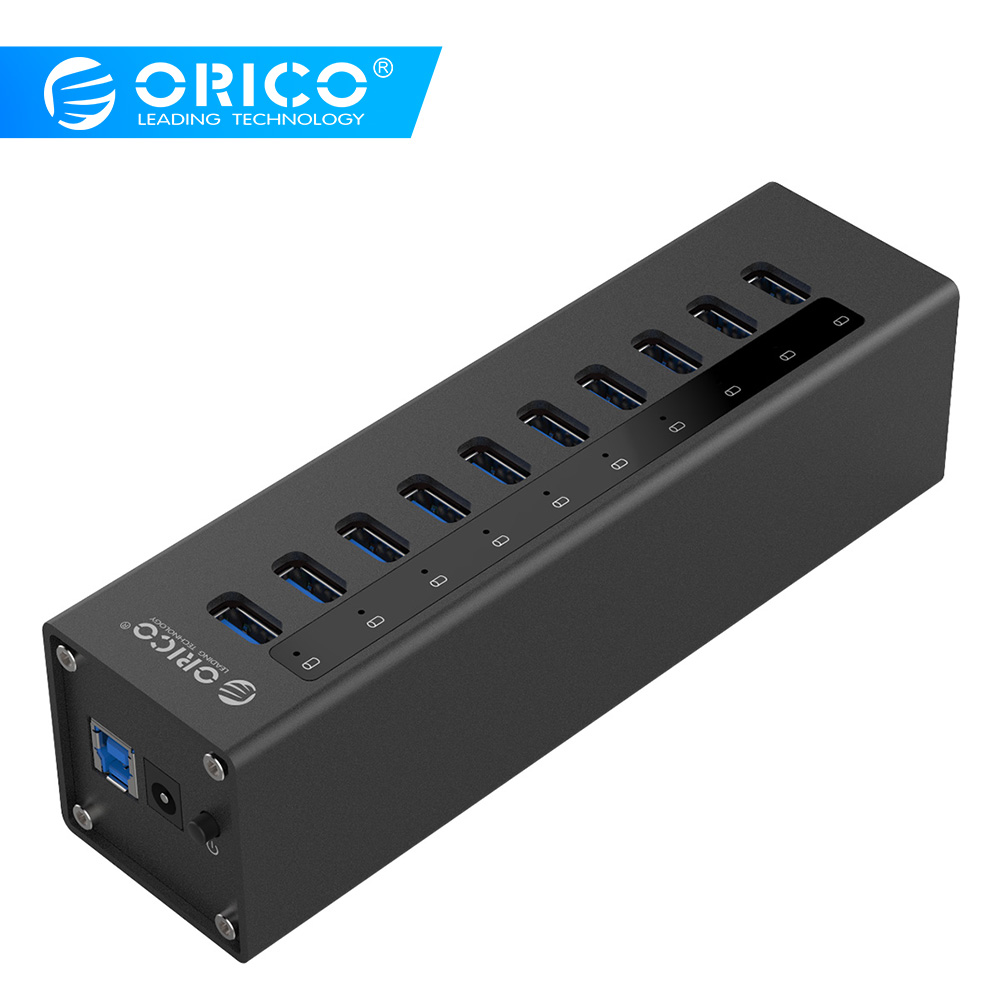 ORICO A3H10-BK Aluminum Super Speed 10 Port USB3.0 HUB Splitter With Power Adapter-Black