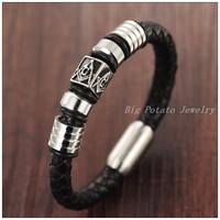 8 07 11mm 31g Free Shipping High Quality Genuine Black Leather Braided Bracelet Bangle Stainless Steel