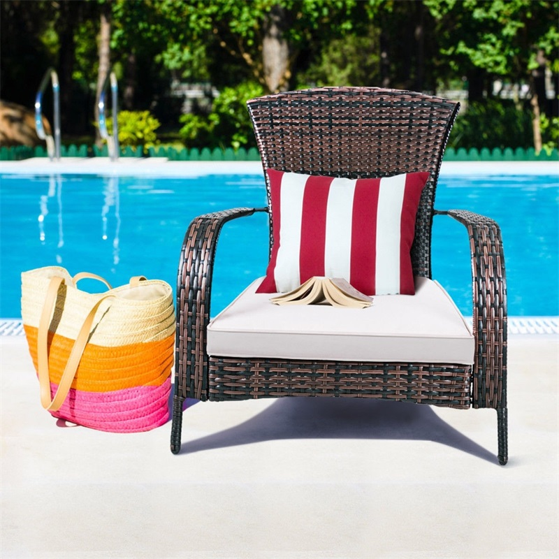 Admirable Outdoor Wicker Rattan Porch Deck Adirondack Chair With Cushion Patio Furniture Hw57255 Gamerscity Chair Design For Home Gamerscityorg
