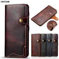 Luxury Real Genuine Leather Wallet Case For IPhone 7 Plus 6 6S Plus Phone Cases Retro