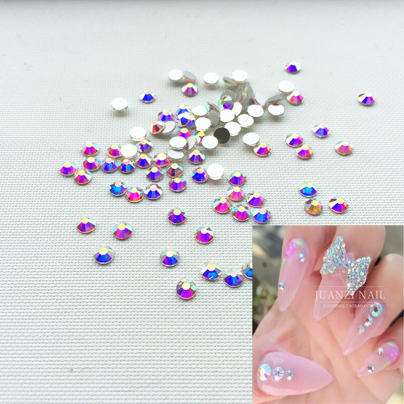 CCBLING ss3-SS10 1440pcs/Pack Crystal AB Rhinestones for Nail Art, Flat Back Non Hotfix Glue on 3d Nail Art Rhinestones ss16 crystal light siam rhinestones for nail art 1440pcs pack flat back non hotfix glue on nail art decorations diy supplies