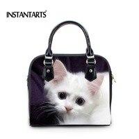 INSTANTARTS Cute Pet Cat Print Women Leather Handbags Female Ladies Casual Leather Crossbody Tote Bags Messenger Bags Femininas