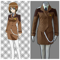 Ainclu Magical Lyrical Nanoha Anime Female Army Uniform Girls Halloween Cosplay Costume Customize For Plus Size