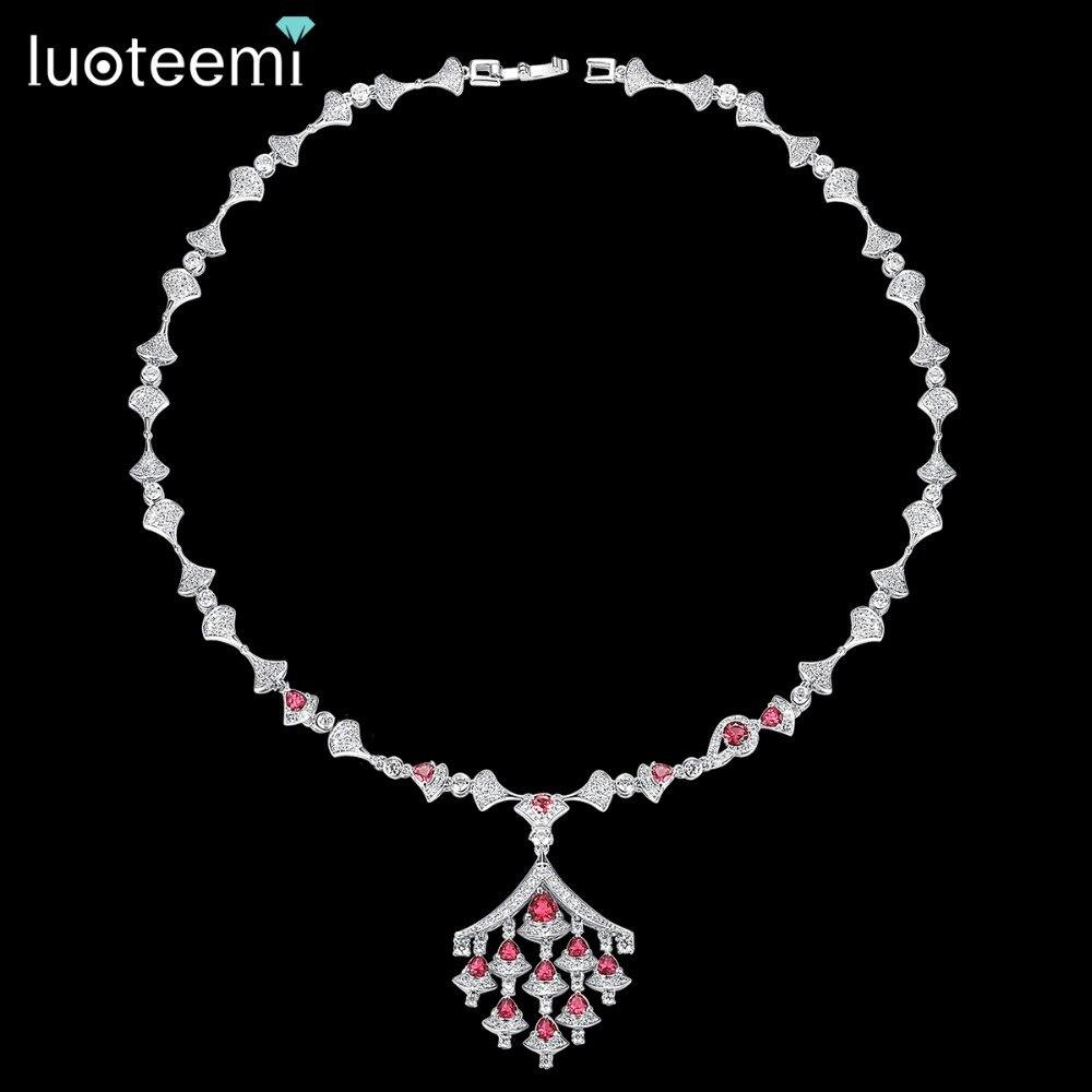 LUOTEEMI Элегантное Длинное Ожерелье AAA кубический цирконий женские ювелирные изделия кулон ожерелье свадебный подарок