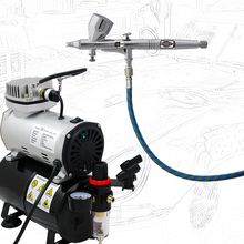 Colopaint Precision Detail Control Airbrush Body Painting Kits ABK-180S-T with Air Compressor TC-20T & Air Hose
