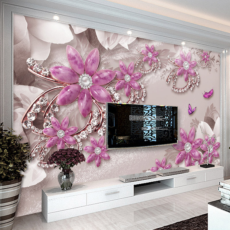 Custom Photo Wallpaper 3D Stereo Jewelry Flower Living Room TV Sofa Background Wall Decor Wall Cloth Papel De Parede 3D Paisagem