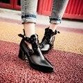 Sapatos primavera outono das mulheres apontou toethick salto martin botas rebite fivela moda tornozelo-comprimento botas