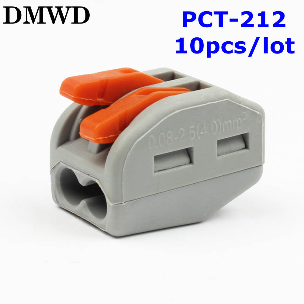 Free shipping 10pcs PCT-212  222-412 spring lever push cable 2 wire wiring connector 32A pin Conductor Terminal