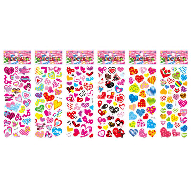 Heart Stickers DIY Scrapbook Self-Adhesive PVC Lable Stationery Diary Stickers Children Kids Toys 5 Sheets