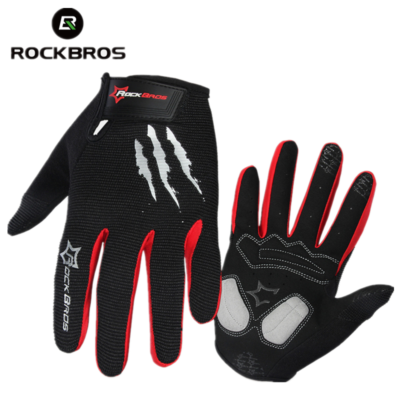 RockBros <font><b>Winter</b></font> Radfahren Handschuhe Lange Finger Mtb Warm Touch Screen Volle Finger Handschuhe Winddicht Handschuhe Für Männer Fahrrad Zubehör image