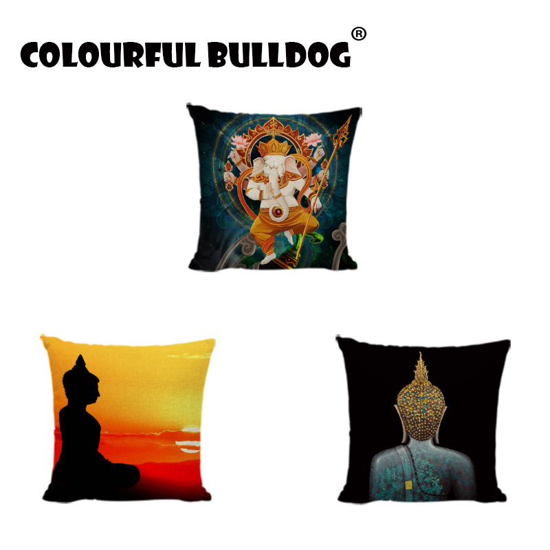 Cushion Cover With Chinese Style Square Print Cushion Covers Buddha Throw Pillow Case Decorate Sofa Linen Cotton Zen Pillowcases
