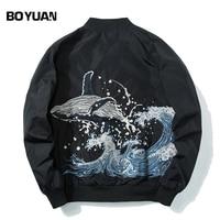 BOYUAN Brand Quality Jackets Men Coat Whale Sea Embroidery Bomber Jacket Men Hip Hop Casual Streetwear