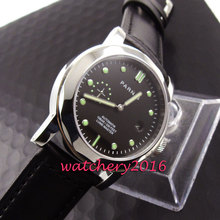 Fashion 44mm Parins black dial polished case sapphire glass luminous markers date adjust automatic movement Men