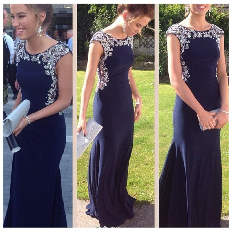 c7c087d969d7 Online Selling Navy Blue Prom Dress Mermaid Plus Size Cap Sleeves Evening  Gowns with Heavy Beaded 2016