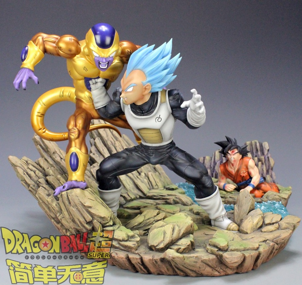 MODEL FANS MRC copy version Dragon Ball Z 30cm blue hair Vegeta VS gold Frieza gk resin action figure toy for Collection model fans in stock dragon ball z mrc 30cm son gohan practice gk resin statue figure toy for collection