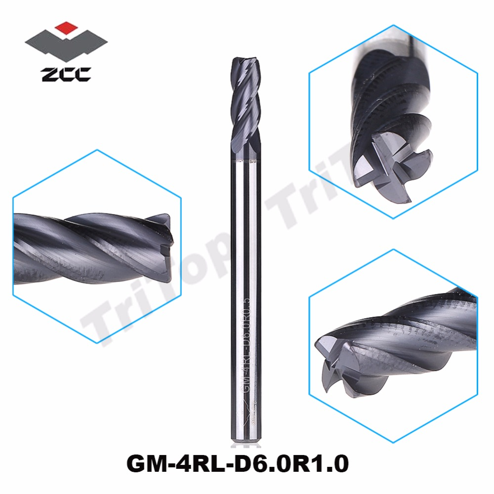 ZCC.CT  GM-4RL-D6.0R1.0  4 flute R end mills  with straight shank/Long cutting edge general milling zcc ct gm 4bl r7 0 4 flute ball nose end mills with straight shank long cutting edge end mills cutter