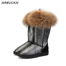 HABUCKN Fashion Natural Real Fox Fur Women's Winter  Snow Boots Warm Long Boots Genuine Leather High Winter Boots Women Shoes mbr force high quality women natural real fox fur snow boots genuine leather fashion women boots warm female winter shoes ship