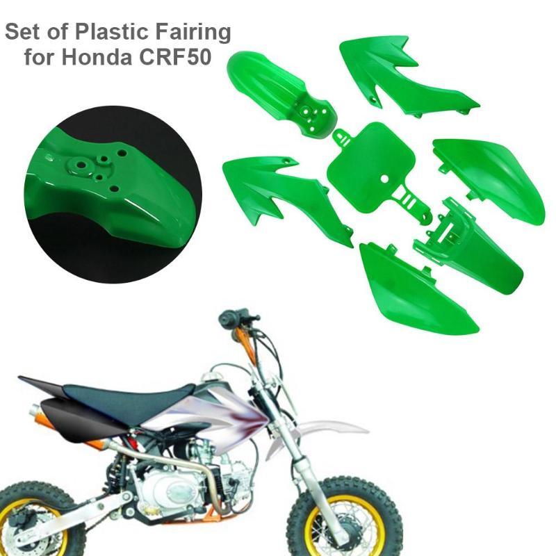 7Pcs/set Motorcycle Plastic Fairing for Honda CRF 50 Pit Dirt Bike Green Car Motorcycle Bike Exterior Accessories Car Styling plastic kit fender for honda crf50 xr50 70 crf 50 xr 50 sdg ssr pro 50cc 110c 125cc dirt pit bike fit for kayo kr110