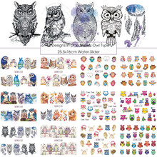 12 soorten Leuke Cartoon Uil Patroon Nail Water Sticker Decals Nail Tattoo Manicure Nail Art Decoraties DIY Tool BN1153-1164(China)