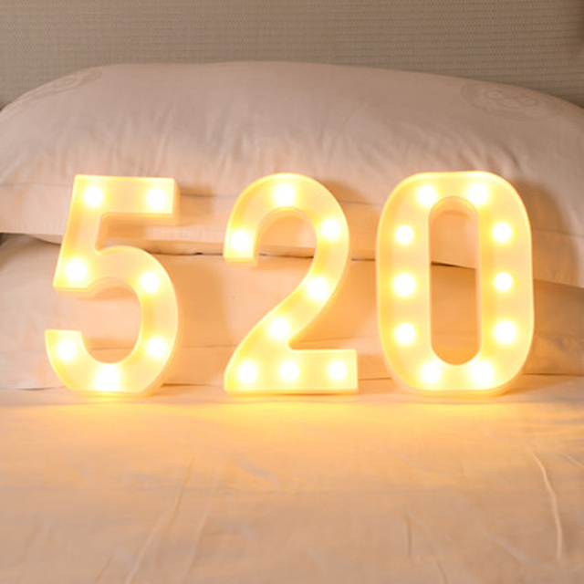 Marquee Sign Lamp 10 Number White LED Night Light For Birthday Wedding Party Bedroom Wall Hanging Decor