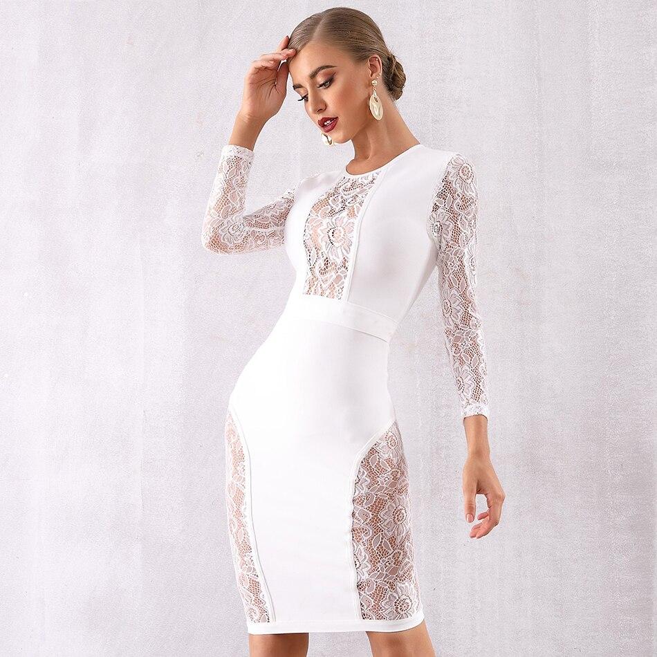 Seamyla 2019 nouvelle robe de pansement femmes Vestido noir dentelle célébrité soirée robes de soirée Sexy à manches longues moulante Midi robe de Club - 5
