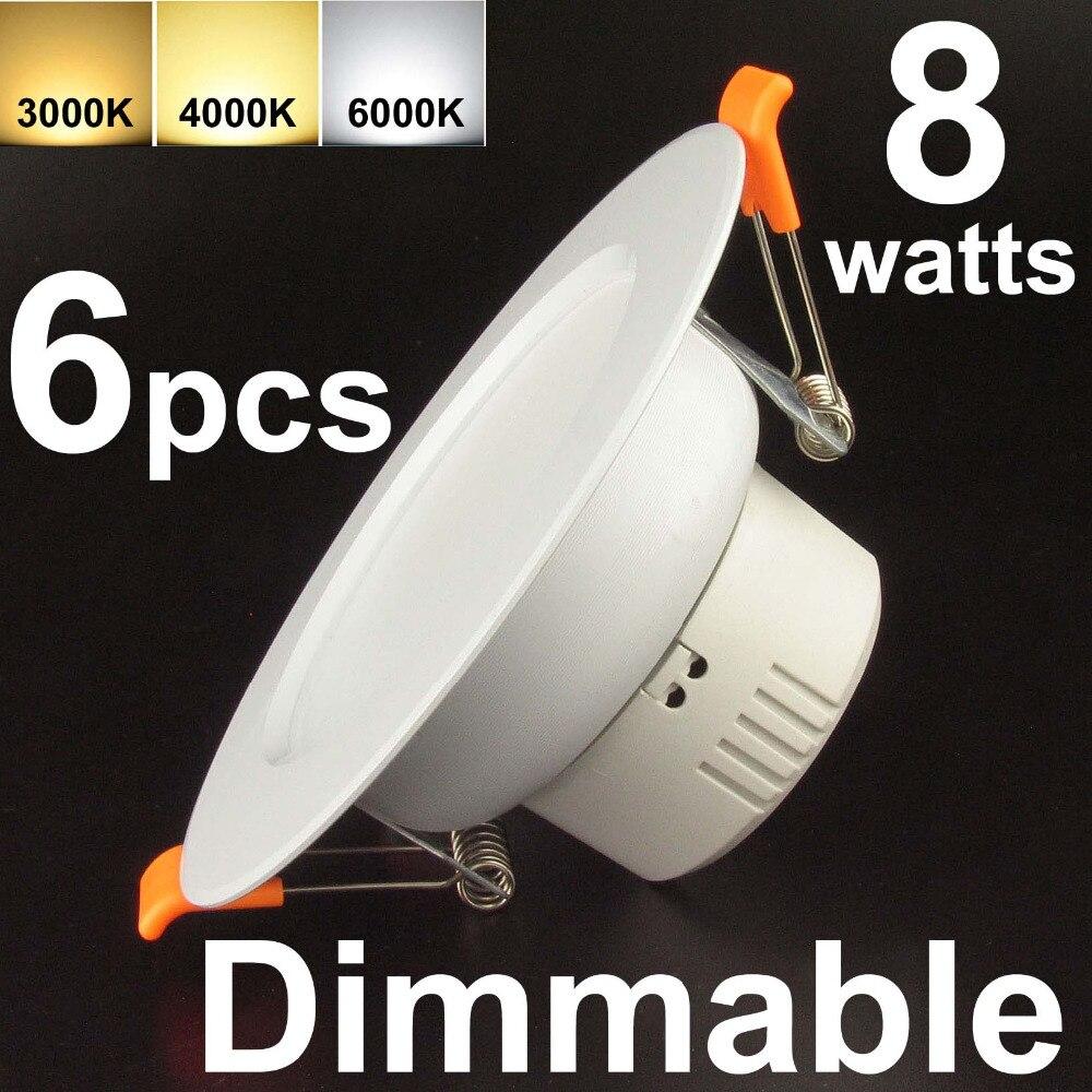 3 светодиодный встраиваемый светильник потолочный свет панели затемнения 8 Вт (эквивалент 50 Вт) 6 шт. pack