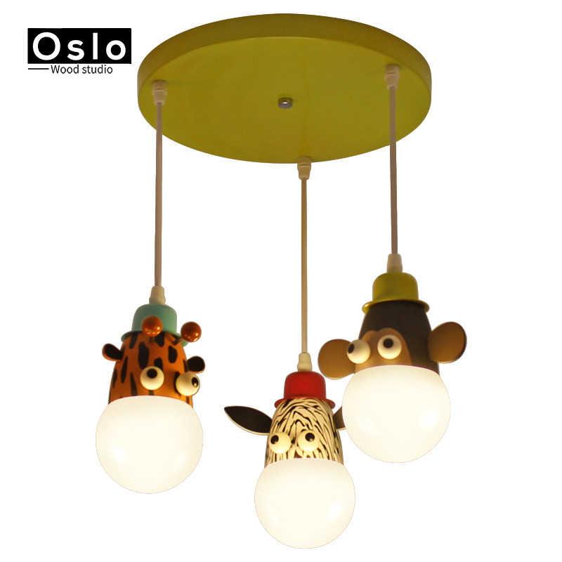 Современная Новинка милый комплект для девочек/мальчиков E27 потолочные светильники животные в мультфильмах, обезьянки зебра и Жираф детей Спальня спальную комнату лампы