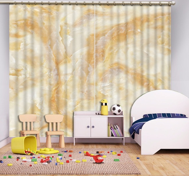 European Curtains Custom Marble Pattern Sheer Curtains For Living Room Bedroom  Hooks Curtain Blackout 3D Curtains