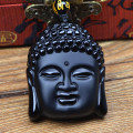 Ubeauty High Quality  Black Obsidian Scrub Buddha Head Lucky Amulet Pendant Necklace For Women Men Jade Jewelry