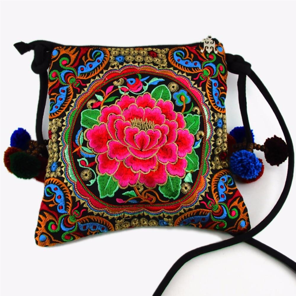 Hmong Tribal Etnik Tay Hint Boho omuz çantası messenger nakış pom - Çanta - Fotoğraf 4