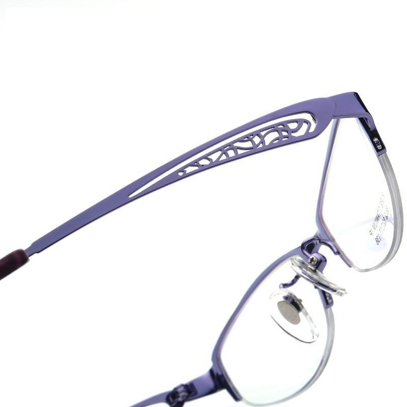 Pure titaniu women eyeglasses frames ultra light half rim female optical myopia spectacle frame ladies reading glasses eyewear in Women 39 s Eyewear Frames from Apparel Accessories