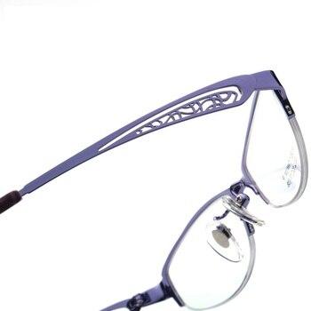 Puro Titaniu Donne Occhiali Da Vista Frames Ultra Luce Di Metà Del Cerchio Femminile Miopia Ottica Montatura Per Occhiali Delle Signore Occhiali Da Lettura Occhiali