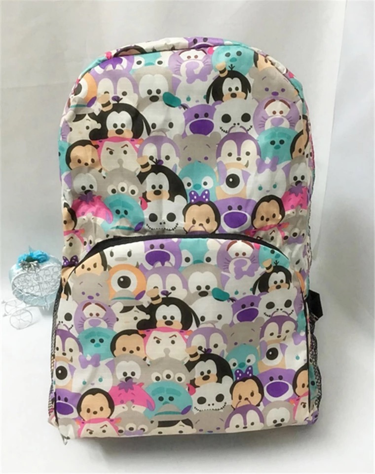 TSUM mickey Minnie Donald Duck strawberry bear waterproof fold backpack portable received backpack bag