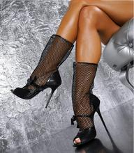 Stylish Black Leather Runway Boots Women Peep Toe Cut-out Lace Net Mesh Gladiator Heels Women Shoes High Heels Sexy Banquet Boot цены