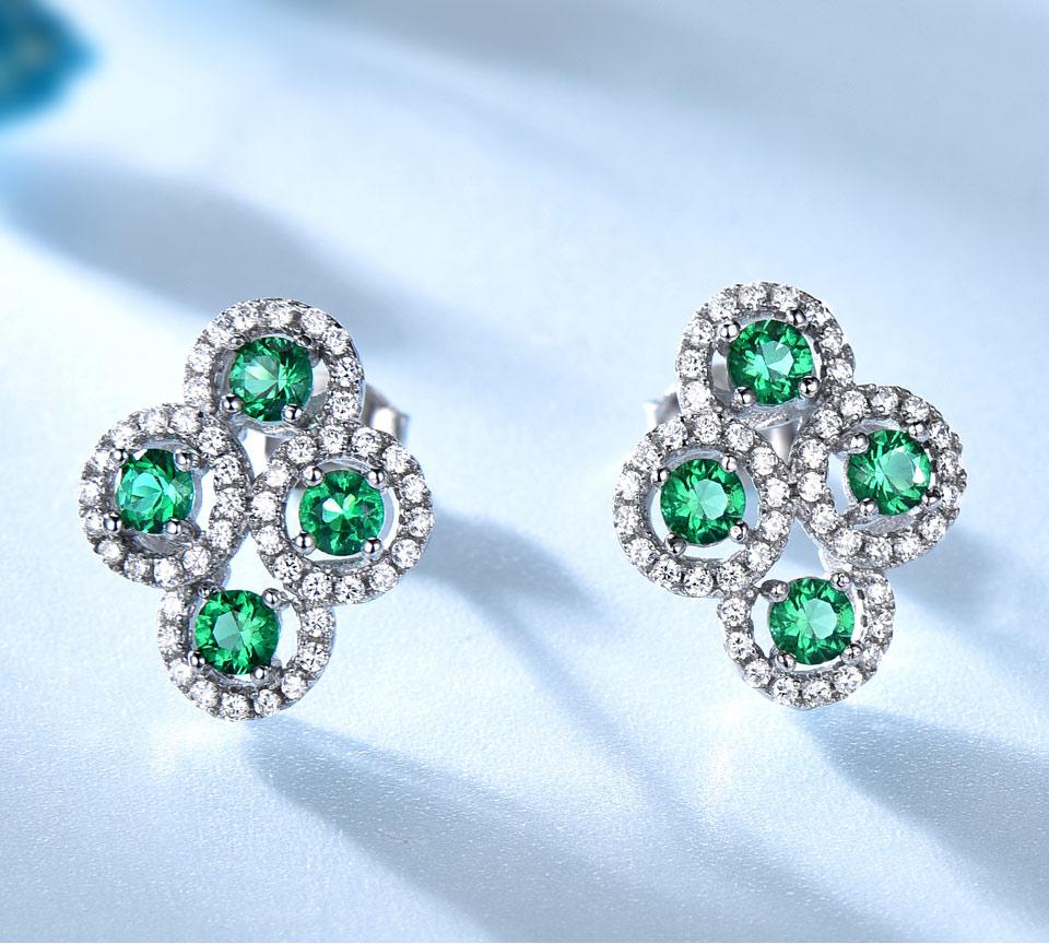 Emerald stud earrings for women UMCHO (2)